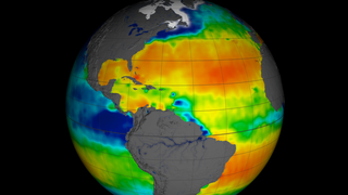 Observations of sea surface salinity acquired by NASA's Aquarius spacecraft (red indicates high salinity; blue indicates low salinity). Click for more details.