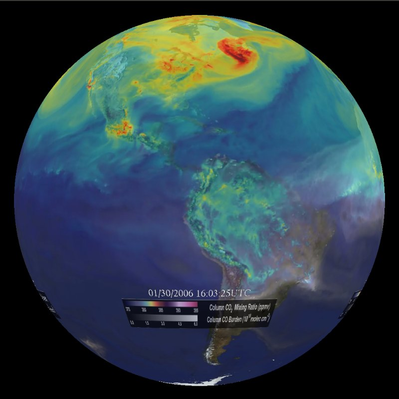 NOAA Science on a Sphere with carbon dioxide simulation
