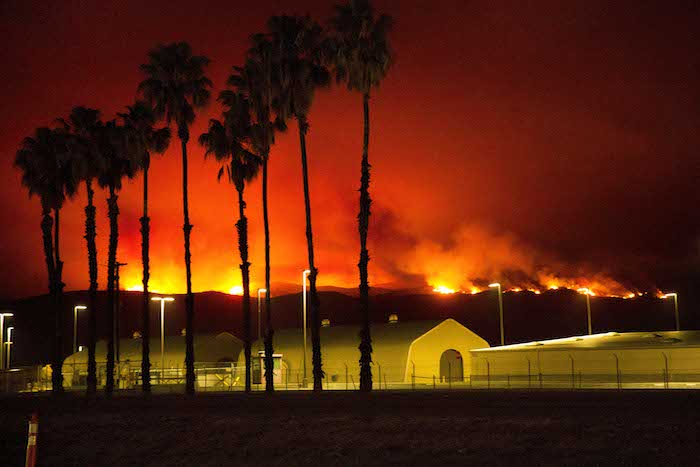 A wildfire burns near a military base in California. (Credit: U.S. Marine Corps)