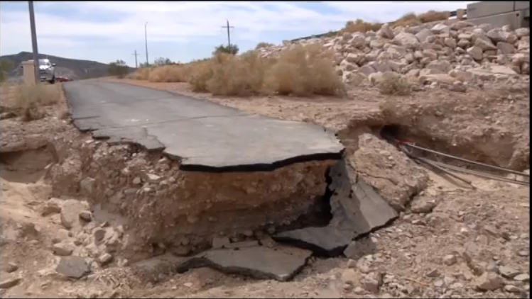 Flooding from an extreme rainfall event damaged infrastructure at DOD's Fort Irwin in 2013.