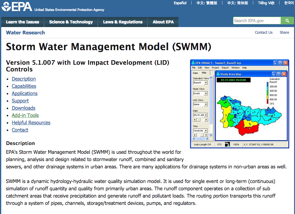EPA Stormwater Management Model and add-in tools