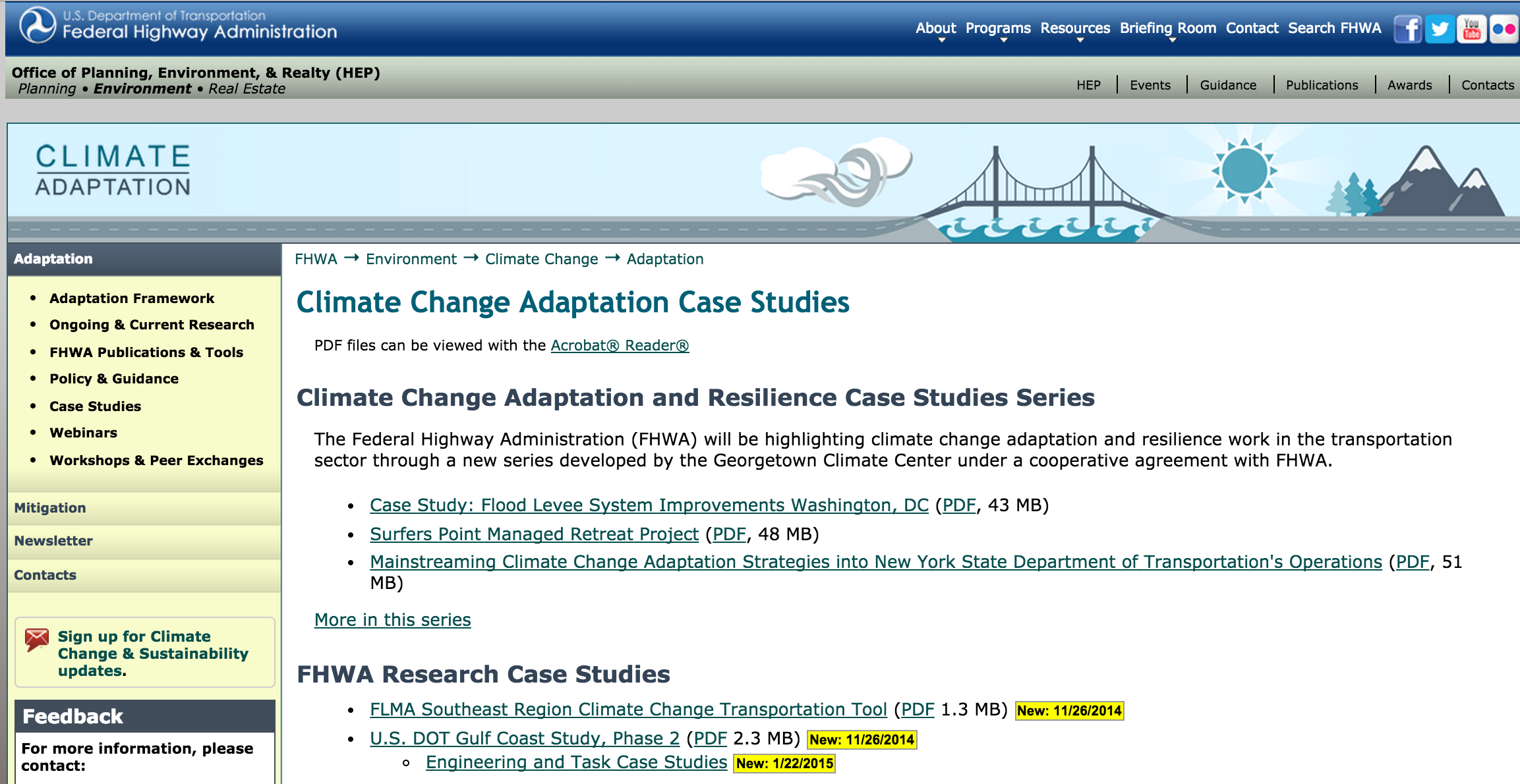 FHWA Climate Change Adaptation Case Studies