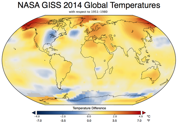 Map showing the difference between 2014 surface temperatures and long-term average temperatures. 2014 temperatures were warmer over much of the globe. Map created by NASA GISS.