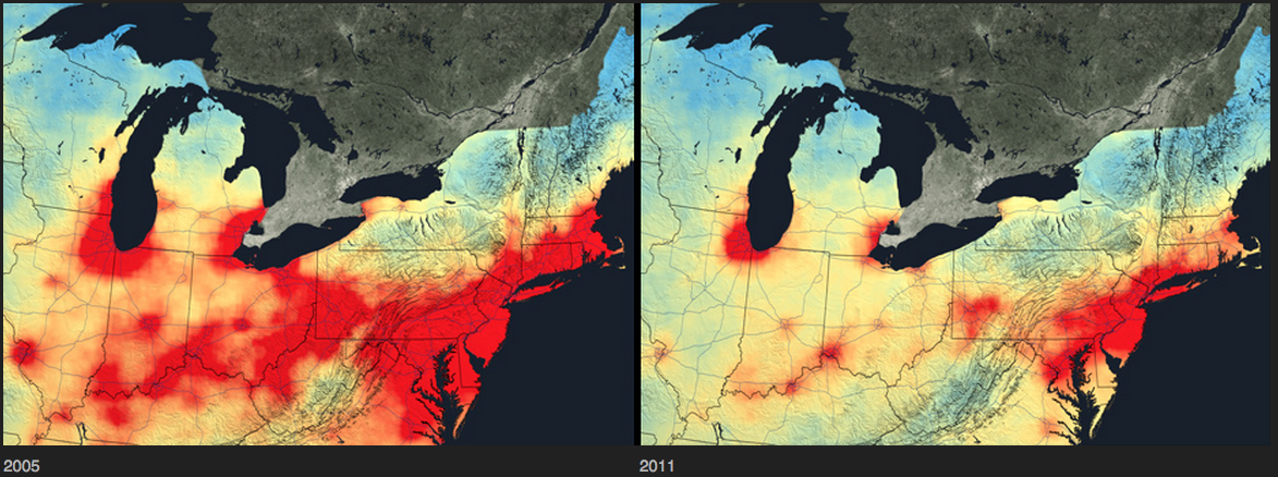 NASA visualization showing air pollution over the northeastern U.S. in 2005 and 2011