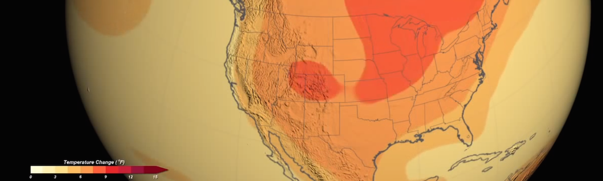 Snapshot of a NASA animation showing future temperature changes projected by models