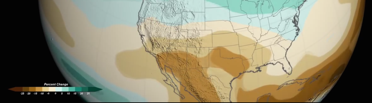 Snapshot of a NASA animation showing future precipitation changes projected by models
