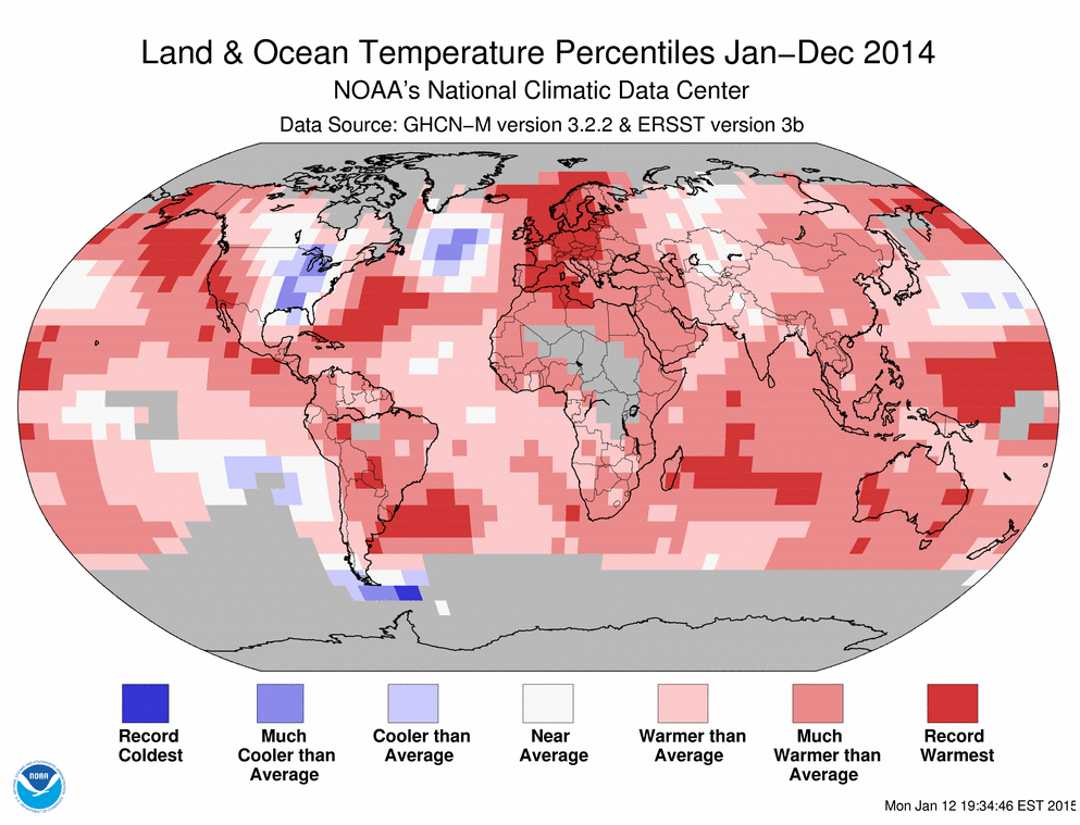 Map of 2014 temperature percentiles