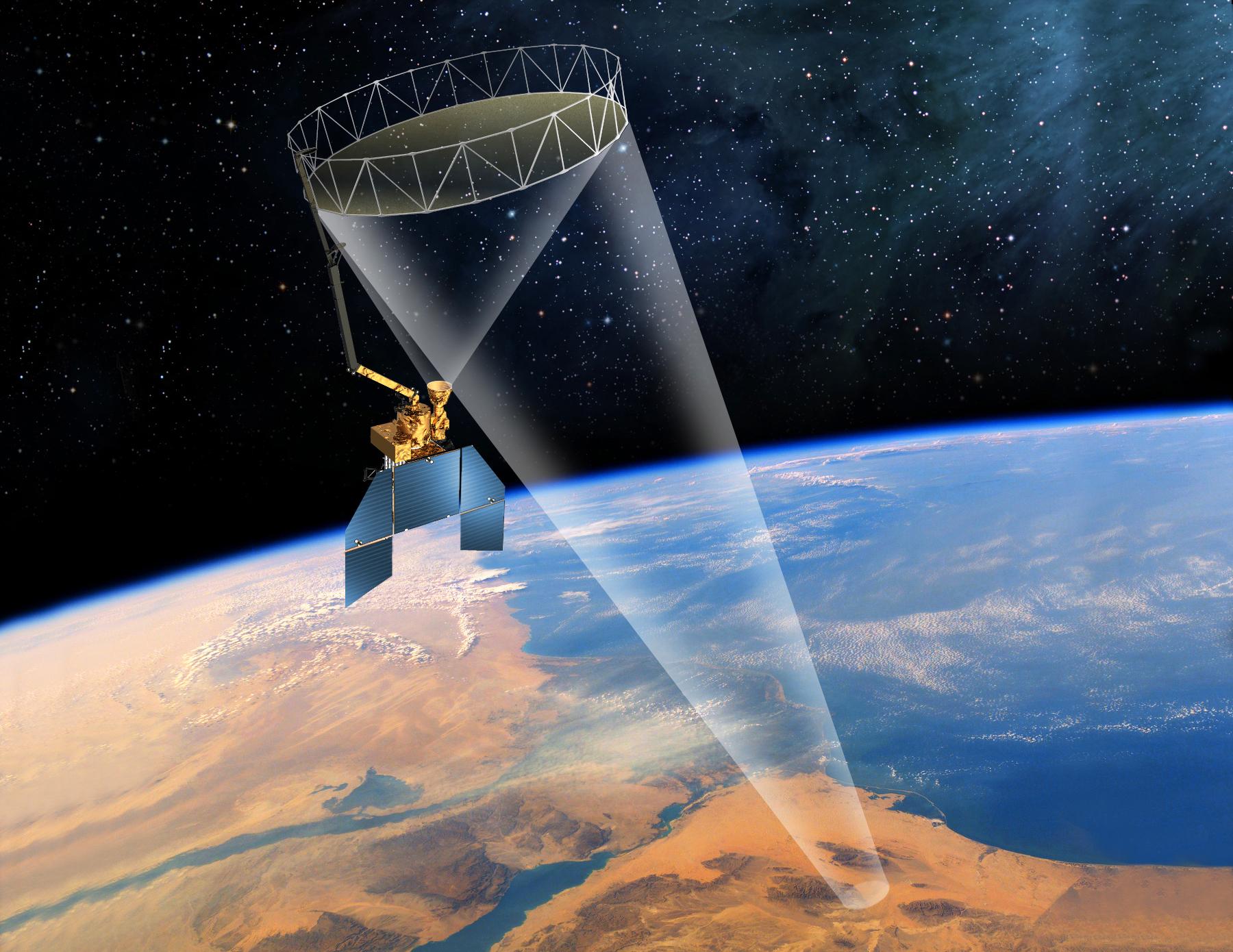 Artist's rendering of the SMAP satellite in orbit