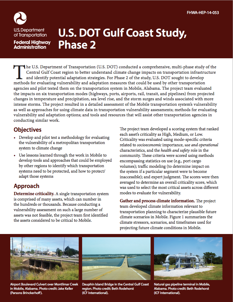 U.S. Department of Transportation Gulf Coast Study