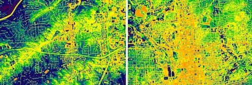 NASA Landsat thermal image of suburban (left) and urban (right) Atlanta by night, showing how heat concentrates in urban environments. Click to see a larger version.