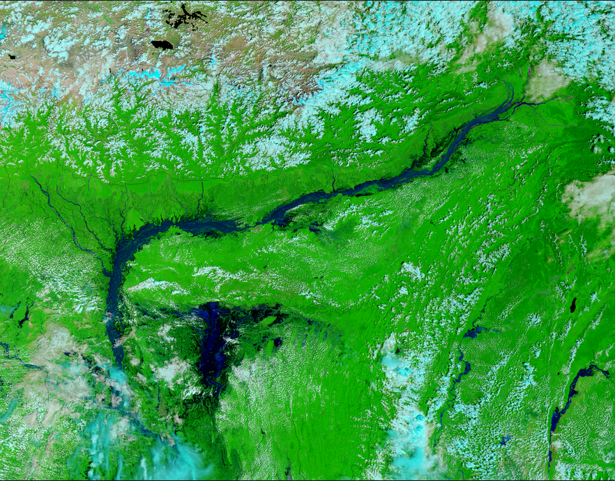 Flooding along the Brahmaputra River and in the Tanquar haor wetlands, Bangladesh