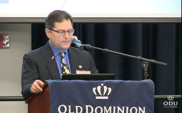USGCRP staff member Dr. Fred Lipschultz talks about national and regional climate impacts at the Hampton Roads exercise, which was hosted by Old Dominion University. (Credit: ODU)