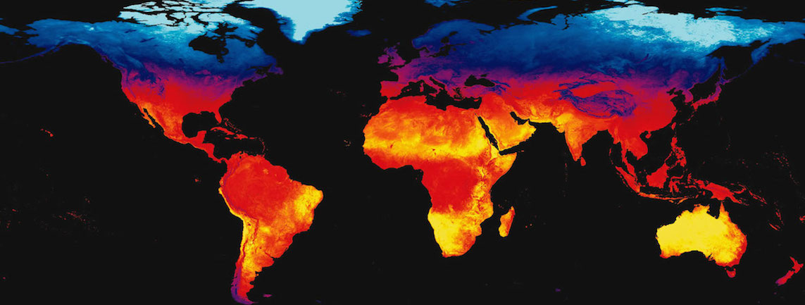 Thermal image of Earth's land surfaces