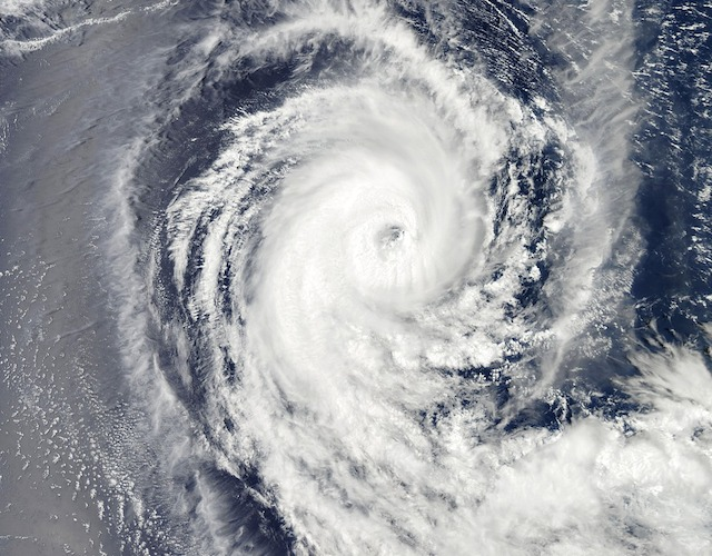 Satellite view of a tropical cyclone