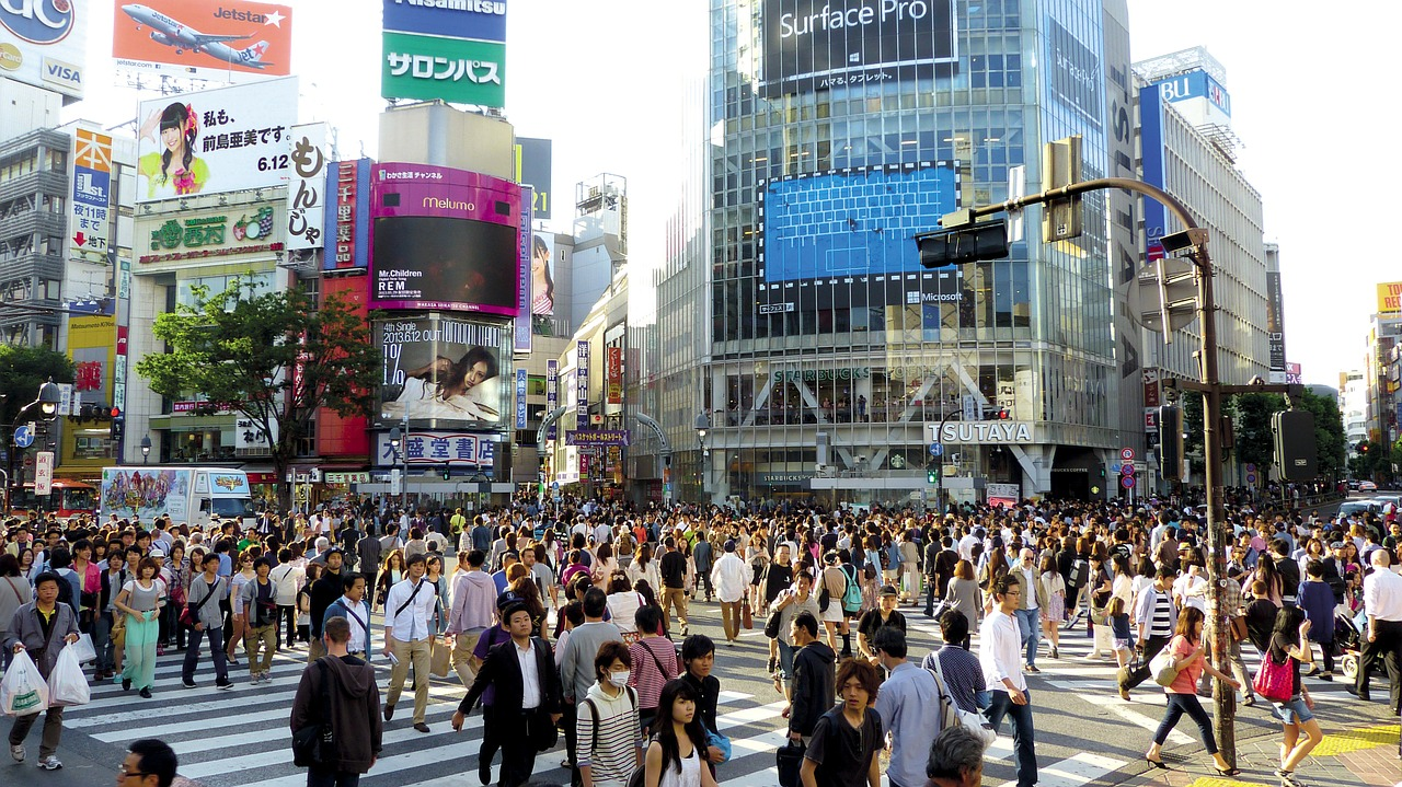 A crowded intersection in Tokyo, Japan