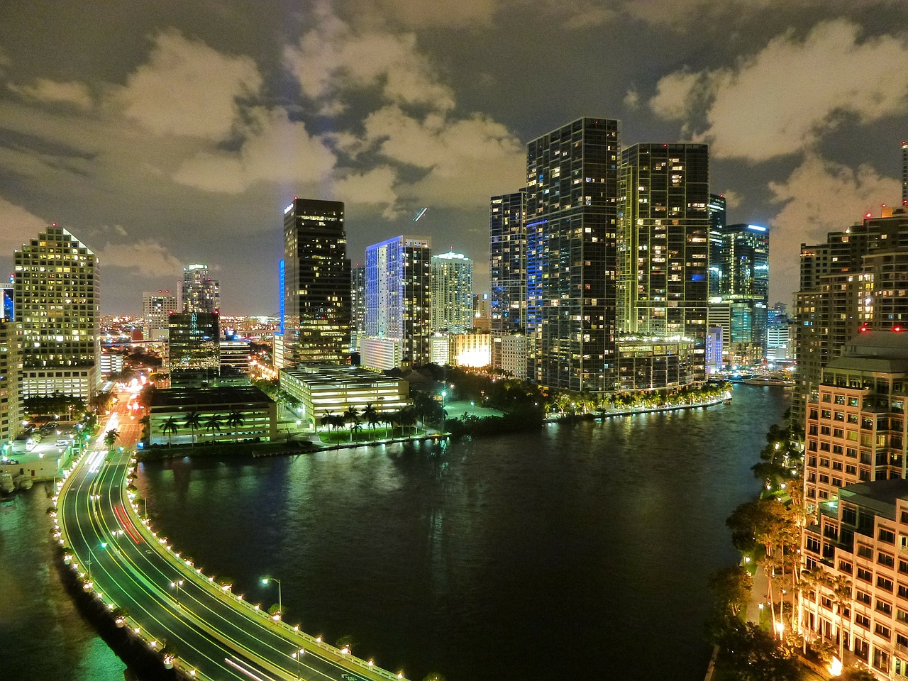 Miami by night, showing sea levels very close to roads and buildings