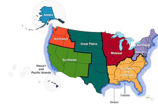 Ncaregionsmapwithoceanscoastsjpg GlobalChangegov - Regions of us map
