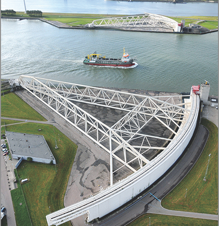 A storm surge barrier in the Netherlands
