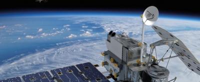 The Global Precipitation Measurement satellite over Earth (NASA)