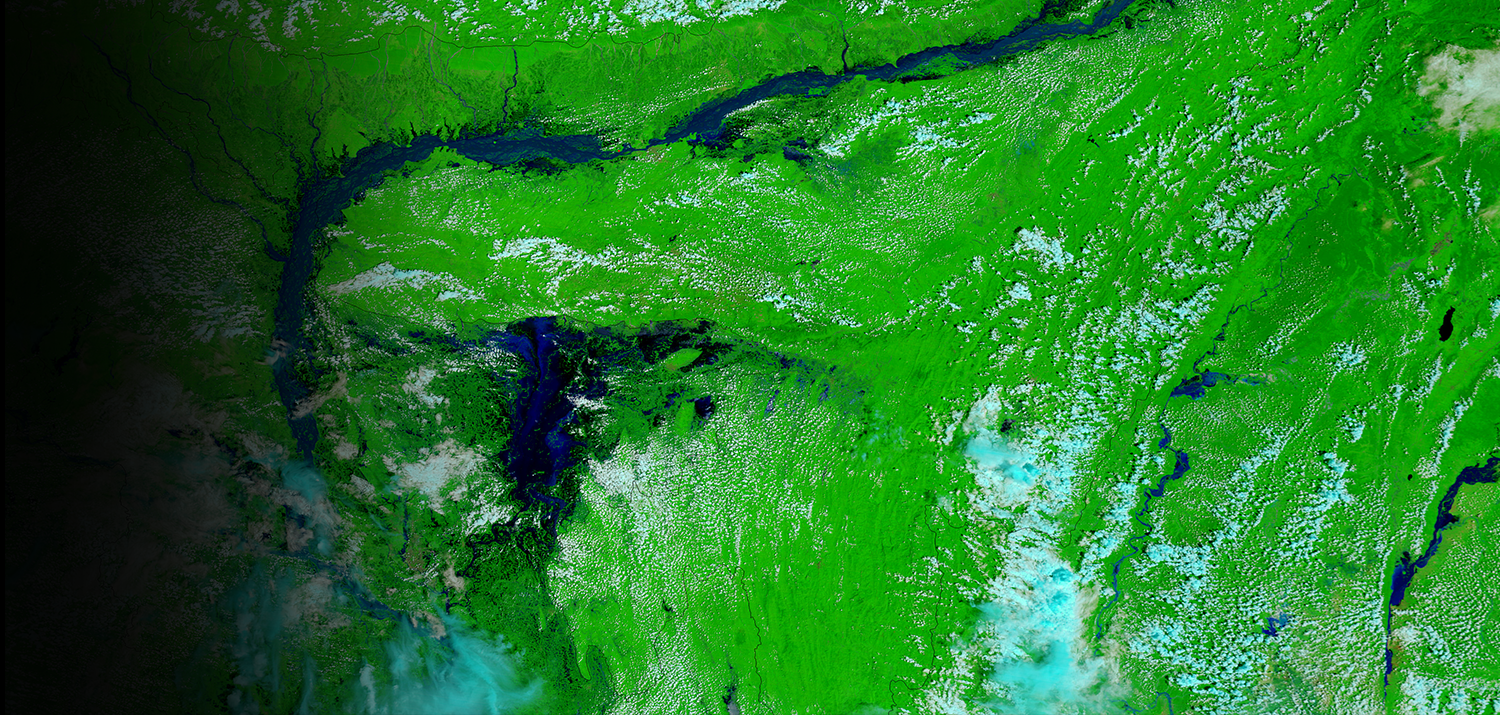 Satellite image of flooding in Bangladesh's Brahmaputra River valley