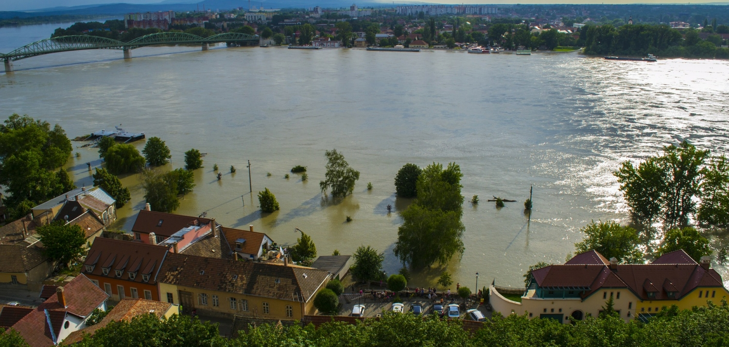 Flooding along the Danube River in Europe