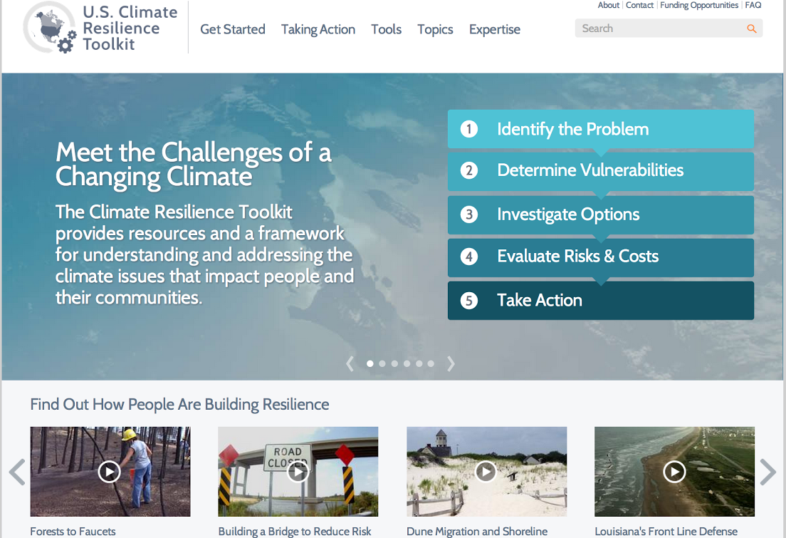 The U.S. Climate Resilience Toolkit features science-based resources and real-world case studies to help communities adapt to climate change.