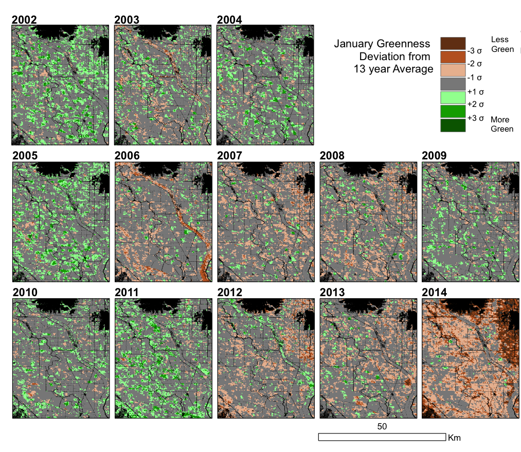 The greenness of croplands in January is shown relative to the 13-year average from NASA MODIS records. Satellite imagery can be a powerful tool for understanding the impacts of drought on agricultural lands. (Source: NIDIS Newsletter, April 2014)