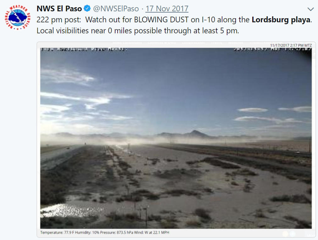A NOAA National Weather Service (NWS) dust warning to motorists traveling along Interstate 10 near Lordsburg, New Mexico, tweeted in November 2017.