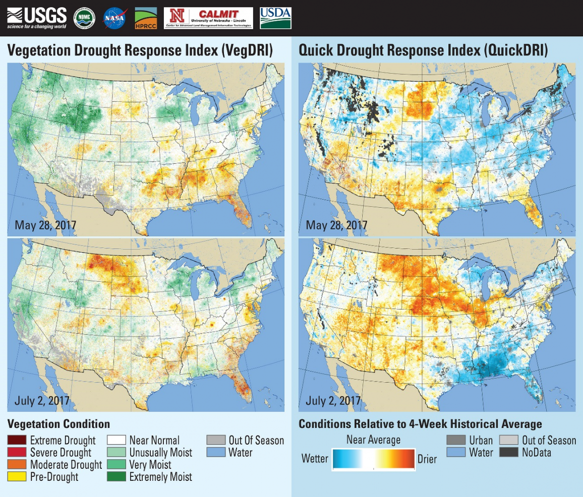 "VegDRI (left) and QuickDRI (right) for weeks in May and July depicting the evolution of the ""flash"" drought over eastern Montana, North Dakota, and South Dakota in 2017."