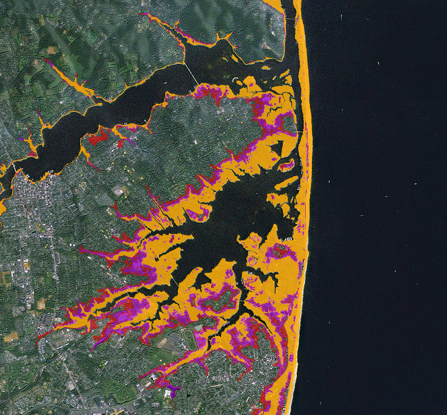 Map of current (yellow) and potential future (pink) flood risks for a portion of the New Jersey coastline. The different shades of pink represent four future scenarios with sea-level rise ranging from 8 inches to 6.6 feet. (Source: Sea Level Rise Map Serv