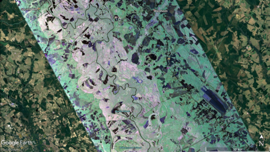 This image of Pee Dee River in South Carolina was captured by NASA's Uninhabited Aerial Vehicle Synthetic Aperture Radar (UAVSAR) instrument aboard a September 17, 2018 science flight.