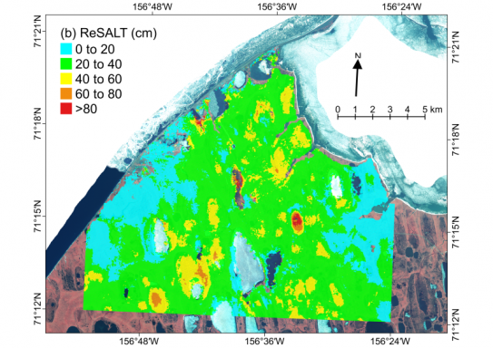 Map shows the average active layer thickness (ALT) at the end of the growing season for the Barrow, Alaska region that contains the NGEE Arctic study site.