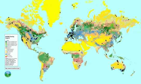 AmeriFlux FLUXNET2015 data collection sites overlaid on a map of global land cover types.