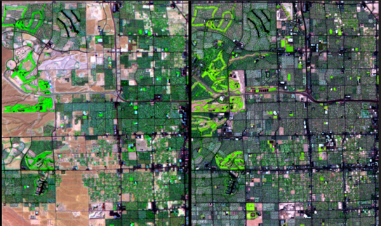 Land cover change, such as the rapid urban expansion of Las Vegas shown above (left: 1992; right: 2013), interacts with climate change in complex ways. Scenarios can be used to understand and plan for the plausible permutations of these and other interact