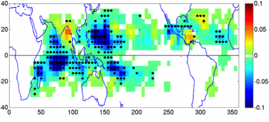 This map shows projected changes in the annual frequency of tropical cyclone formation, averaged from the output of seven models, under the combined conditions of 1) a 2°C increase in sea surface temperatures, and 2) a doubling of atmospheric carbon dioxi