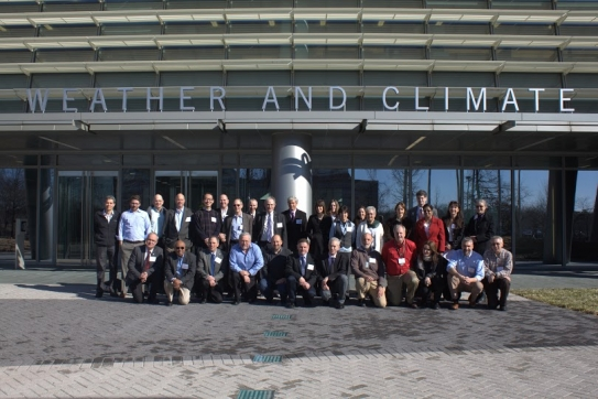 The U.S. Climate Modeling Summit brought together representatives from the Nation's major experimental and operational climate modeling programs. Above, Summit participants gather at the NOAA Center for Weather and Climate Prediction. (Source: NOAA)
