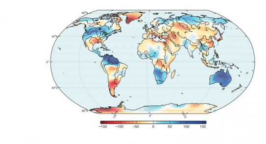 The 2010–2011 La Niña caused unusually high rainfall and flooding in some regions of the Southern Hemisphere, with major effects on ecosystems and thereby on the carbon cycle. This map shows the change in water mass over continents between the beginning