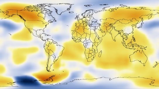 Snapshot of global temperature anomalies (1985-1989)