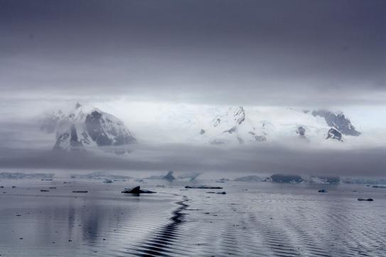 Broken-up ice on the coast of Antarctica
