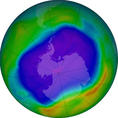 NASA image of the ozone hole over Antarctica