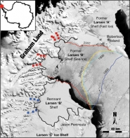 Retreating Margin of the Larsen B Ice Shelf