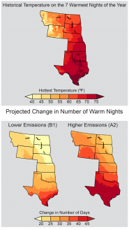 Projected Change in Number of Warm Nights