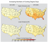 Increasing Numbers of Cooling Degree Days