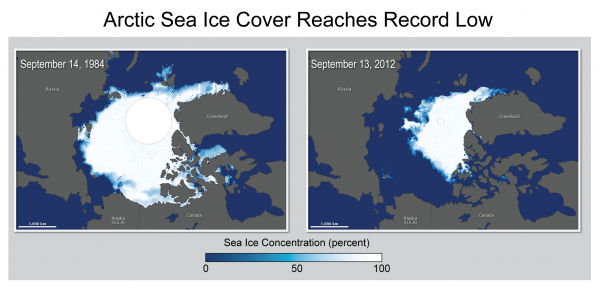 Sea Ice Cover Reaches Record Low