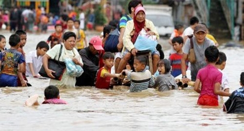 Flooding Affects a Coastal Megacity