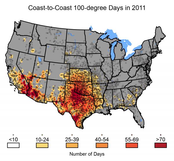 Coast-to-Coast 100-degree Days in 2011