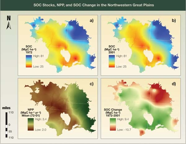 SOC Stocks, NPP, and SOC Change in the Northwestern Great Plains