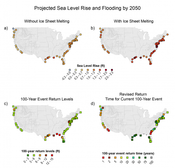 Projected Sea Level Rise And Flooding By GlobalChangegov - Sea level rise map 2050