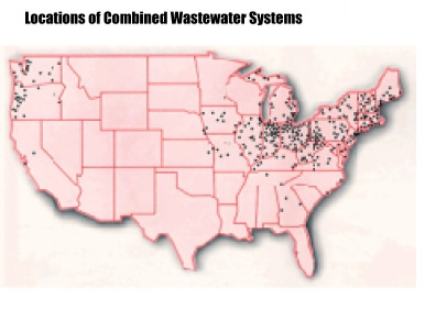 Locations of Combined Wastewater Systems