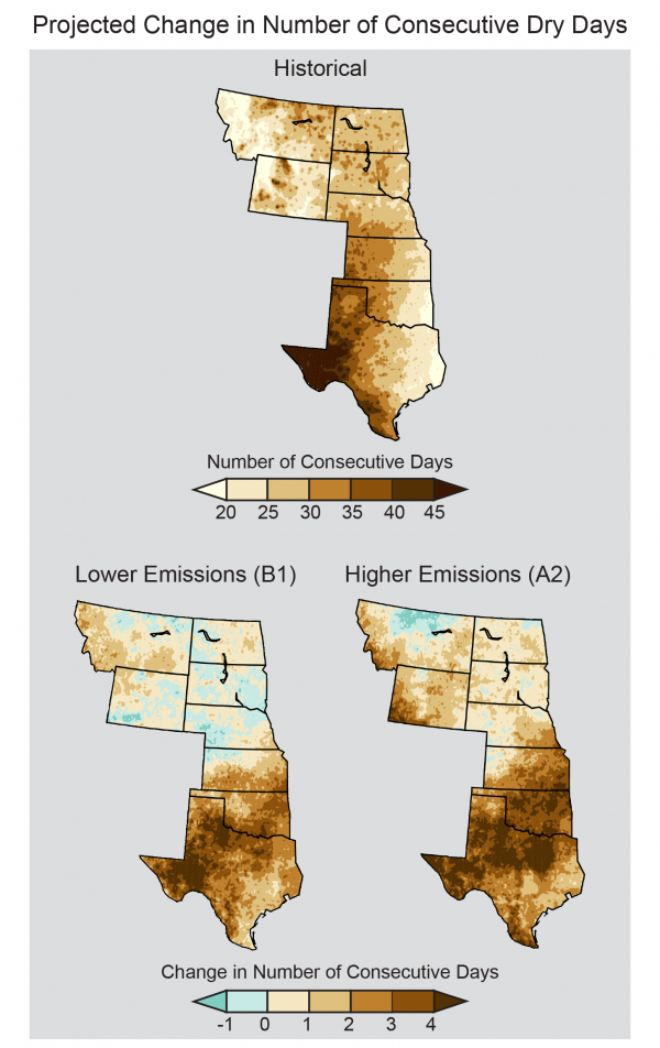 Projected Change in Number of Consecutive Dry Days